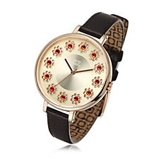 Orla Kiely Ladies Ivy Stones Leather Strap Watch