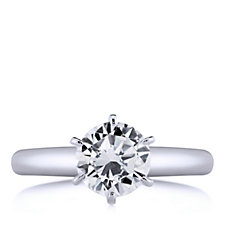 Diamonique 1ct - 3ct tw Solitaire Ring Rhodium Plated Sterling Silver