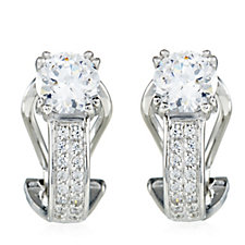 Diamonique 3.4ct tw Pave Omega Earrings Sterling Silver