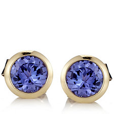 0.8ct AAAA Tanzanite Solitaire Stud Earrings 18ct Gold