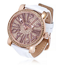 Pocket Ladies Rond Pave Dial Leather Strap Watch