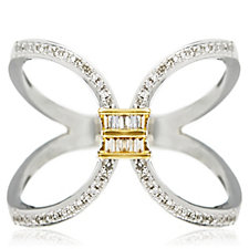 Lisa Snowdon Open Cross Diamond Ring Gold Vermeil Sterling Silver