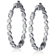 Diamonique 0.7ct tw Round & Marquise Full Hoop Earrings Sterling Silver