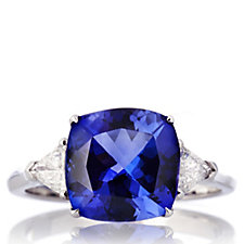 3.8ct AAA Tanzanite & 0.3ct Diamond Cushion Cut Ring 18ct White Gold