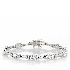 Epiphany Platinum Clad Diamonique 5ct tw 18cm Bamboo Bracelet Sterling Silver
