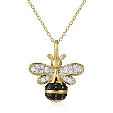 Diamonique 0.4ct tw Bee Pendant & Chain Gold Vermeil Sterling Silver