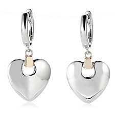 Clogau 9ct Gold Sterling Silver Cariad Heart Drop Earrings