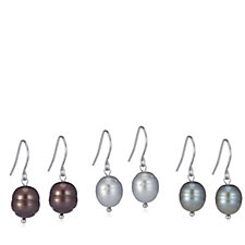 Honora 8-9mm Set of 3 Cultured Pearl Drop Earrings Sterling Silver