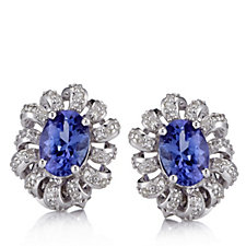 1.4ct AAAA Tanzanite & Diamond Stud Earrings 18ct White Gold