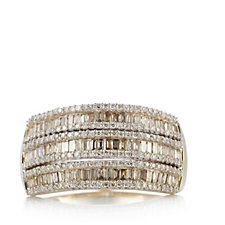 1ct Champagne & White Diamond Band Ring 9ct Gold
