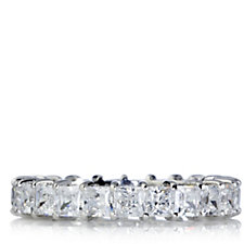 Diamonique 3.5ct tw Square Princess Cut Eternity Ring Sterling Silver