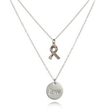 Breast Cancer Care Set of 2 51cm Charm Necklaces