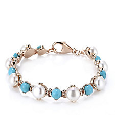 Honora 8-8.5mm Cultured Pearl Turquoise 19cm Bracelet Bronze