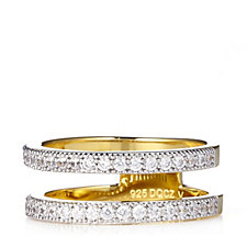 Diamonique Veronese 0.3ct tw 18ct Gold Plated Band Ring Sterling Silver