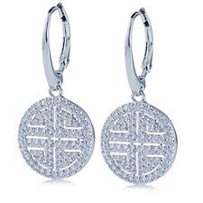 Diamonique by Tova 1.2ct tw Greek Key Leverback Earrings Sterling Silver