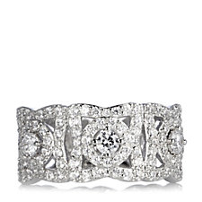 Diamonique by Tova 1.2ct tw Pave Heart Ring Sterling Silver