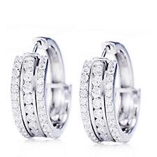 Diamonique 2.5ct tw Interchangeable Hoop Earrings Sterling Silver