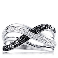 0.15ct Black & White Diamond Wave Ring Sterling Silver
