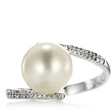 Honora 9mm Cultured Pearl & Diamond Ring Sterling Silver