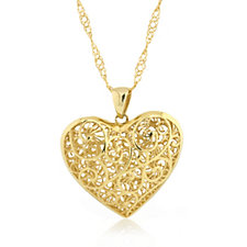 Veronese Classic 18ct Gold Plated Heart Pendant & 65cm Chain Sterling Silver