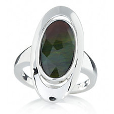 Canadian Ammolite Triplet Faceted Oval Ring Sterling Silver