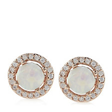 Diamonique 0.3ct tw Simulated Opal Stud Earrings Sterling Silver