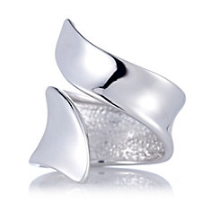 Bianca Platinum Plated Swerve Ring Sterling Silver