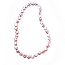 Honora Breast Cancer Care Cultured Pearl Coin Necklace Sterling Silver