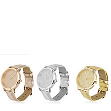 Gossip Set of 3 Glitter Dial Faux Leather Strap Watches