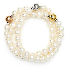 671351 - Honora 7-8mm Cultured Pearl Set of 3 Stretch Bracelet Sterling Silver