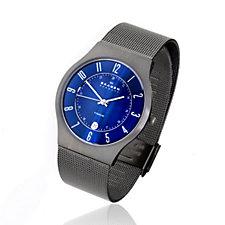 Skagen Gents Midnight Blue Dial Titanium Mesh Strap Watch