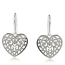 Links of London Tapestry Heart Drop Earrings Sterling Silver