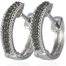 689952 - 0.1ct Black Diamond Huggie Earrings Sterling Silver
