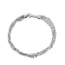 Epiphany Platinum Clad 3 Row Bracelet Sterling Silver