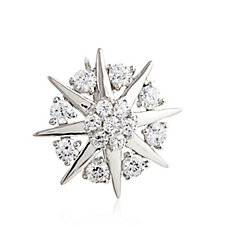 Diamonique 1.6ct tw Burst Brooch Sterling Silver