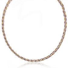 Veronese Tri Coloured Plait 45cm Necklace Sterling Silver