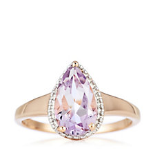 2.2ct Pink Amethyst Breast Cancer Care Pear Cut Ring Sterling Silver