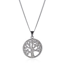 Diamonique 0.8ct tw Pave Tree of Life Pendant & Chain Sterling Silver