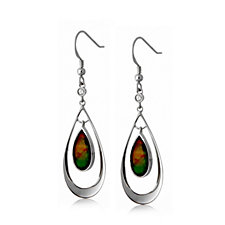 Canadian Ammolite Triplet & White Sapphire Drop Earrings Sterling Silver
