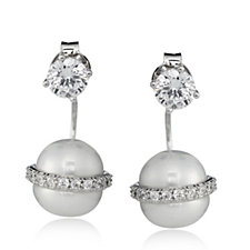 665054 - Diamonique 1.3ct tw Stud & Simulated Pearl Jacket Earrings Sterling Silver