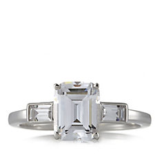 Diamonique 3.3ct tw Emerald Cut Step Ring Sterling Silver