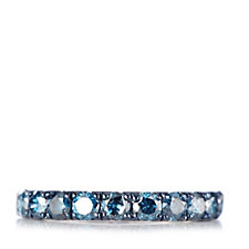 1ct Blue Diamond Eternity Band Ring Sterling Silver