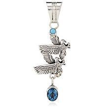 Nizhoni Turquoise & Blue Topaz Eagle Pendant Sterling Silver