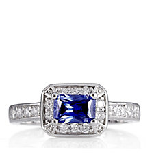 Diamonique 0.7ct tw Simulated Tanzanite East West Ring Sterling Silver