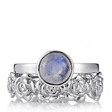 Moonstone Rose Stacking Ring Sterling Silver