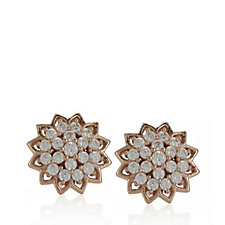 Diamonique 0.6ct tw Flower Stud Earrings Rose Gold Plated Sterling Silver