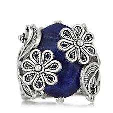 Ottoman Floral Embrace Gemstone Ring Sterling Silver