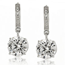 Epiphany Platinum Clad Diamonique 4ct tw Drop Earrings Sterling Silver
