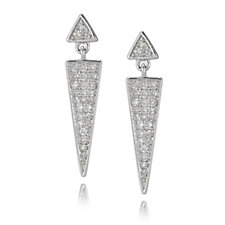 Lisa Snowdon Diamond Chevron Earrings Sterling Silver