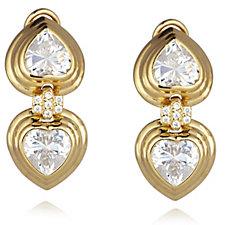 Diamonique by Tova 8.1ct tw Double Heart Earrings Sterling Silver